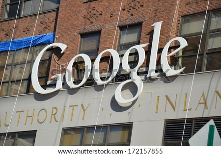 MANHATTAN, NY- SEPTEMBER 21: Google Sign Company Building  in New York, USA on September 21, 2013. One of the 5 boroughs of New York City, the smallest but also the most populated. - stock photo