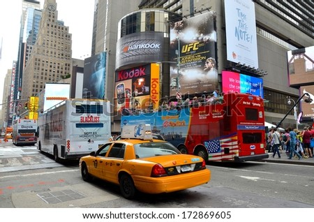 MANHATTAN, NY- SEPTEMBER 21: Manhattan Time Square and transportation in New York, USA on September 21, 2013. One of the 5 boroughs of New York City, the smallest but also the most populated. - stock photo
