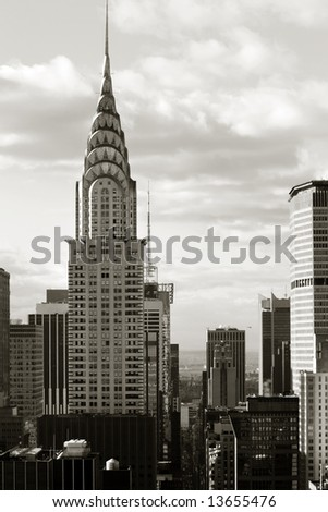 Manhattan office buildings in midtown, NYC - stock photo