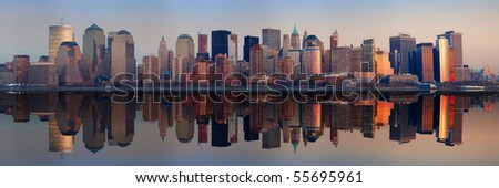 Manhattan Panorama, New York City at sunset with reflection - stock photo