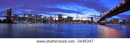 Manhattan panoramic- Brooklyn and Manhattan Bridge at twilight (very large and detailed file)