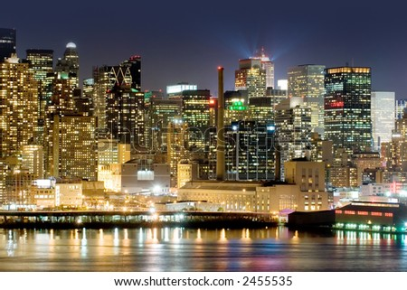 Manhattan's West side view across Hudson river - stock photo