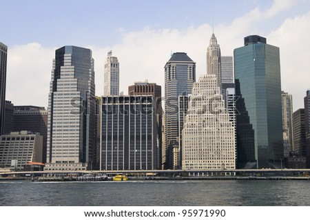 Manhattan, seen from East River, New York, USA