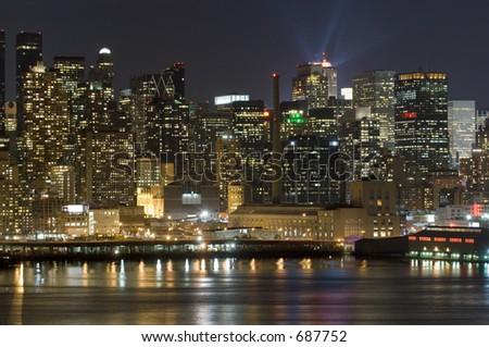 Manhattan skyline across Hudson - stock photo
