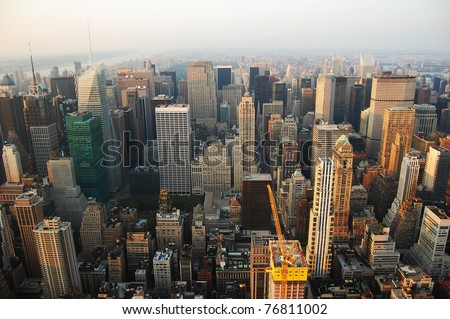 Manhattan Skyline aerial view north, viewed from Empire State Building. - stock photo