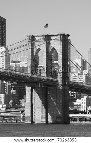Manhattan Skyline and Brooklyn Bridge, New York City - stock photo