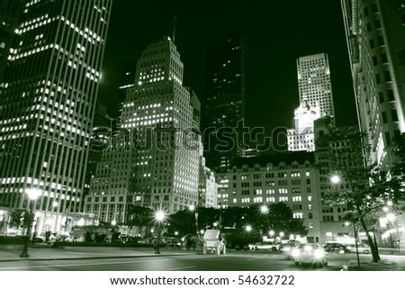 Manhattan Skyline and Central Park at Night, New York City - stock photo