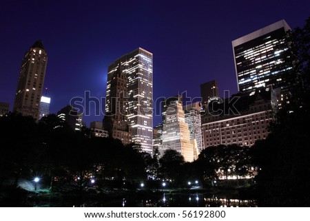 Manhattan Skyline and Central Park at Night, New York City - stock photo