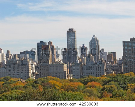 Manhattan skyline and Central Park, NYC - stock photo