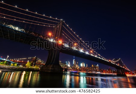 Manhattan Skyline and Manhattan Bridge At Night. Manhattan Bridge is a suspension bridge that crosses the East River in New York City