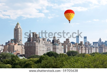 Manhattan skyline and the Central Park in New York City USA - stock photo