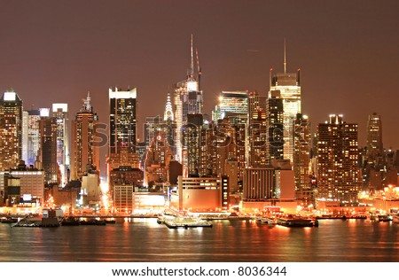 Manhattan Skyline at Christmas Eve, New York City