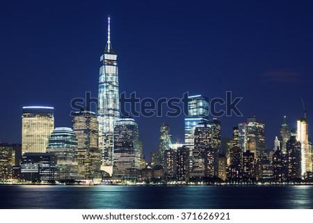 Manhattan skyline at dusk, New York, United States - stock photo