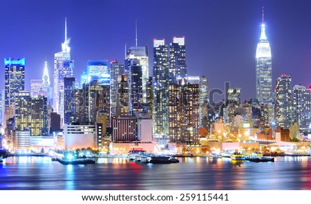 Manhattan skyline at night - stock photo