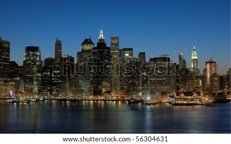 Manhattan Skyline at Night, HDR Image - stock photo