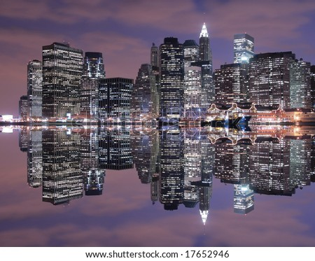 Manhattan skyline at Night Lights - stock photo