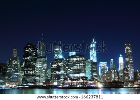 Manhattan skyline at Night Lights, New York City - stock photo