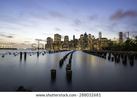 Manhattan skyline at sunset from Brooklyn, New York City - stock photo