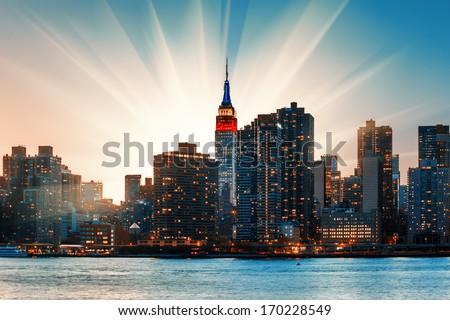 Manhattan skyline at sunset. New York City - stock photo