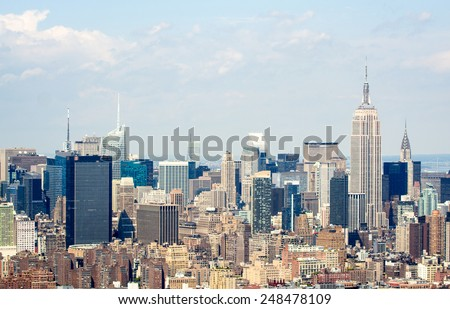 Manhattan skyline, beautiful aerial view from Helicopter. - stock photo