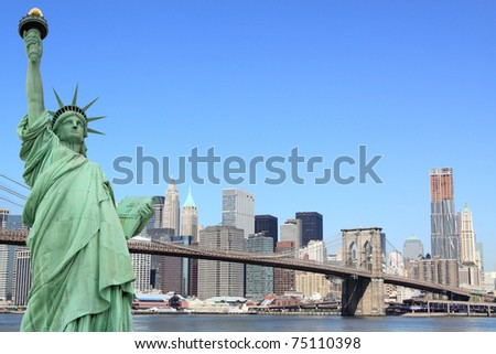 Manhattan Skyline, Brooklyn Bridge and The Statue of Liberty, New York City - stock photo