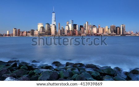 Manhattan skyline, downtown in New York city at night, USA - stock photo