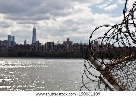Manhattan Skyline from Brooklyn - stock photo