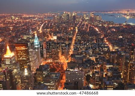 Manhattan skyline from empire state - stock photo