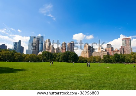 Manhattan skyline from the Central Park, New York, USA - stock photo
