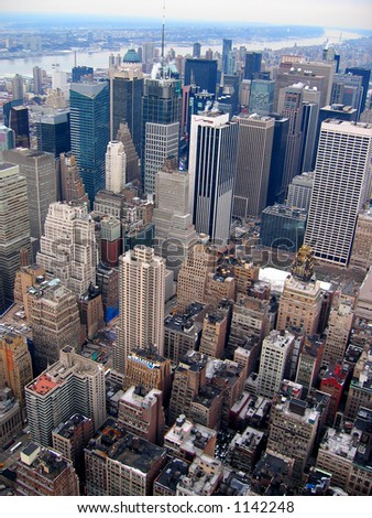 Manhattan skyline from top of Empire State Building - stock photo