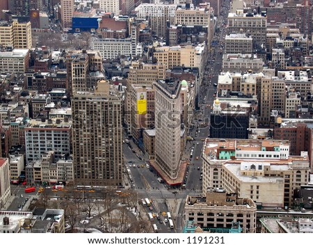 Manhattan Skyline From Top of Empire State Building -Flatiron Building - stock photo