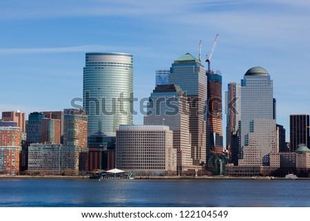 Manhattan skyline in New York  - USA - stock photo