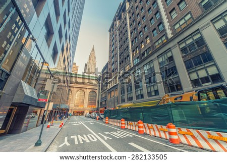 Manhattan skyline near Grand Central. - stock photo