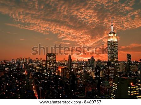 Manhattan skyline, New York City - stock photo