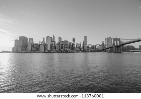 Manhattan Skyline, New York City from Brooklyn - stock photo