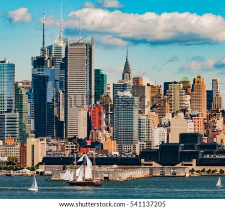 Manhattan Skyline , New York Skyline with sailing ships on the Hudson River, New York City
