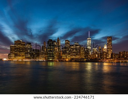 Manhattan skyline night shot - stock photo