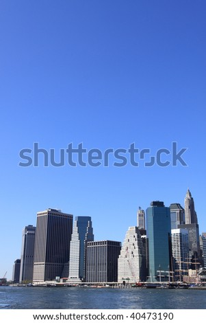 Manhattan skyline on a Clear Blue day , New York City