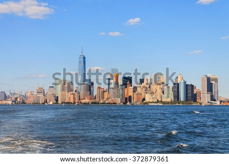Manhattan Skyline over Hudson River, New York City, USA - stock photo