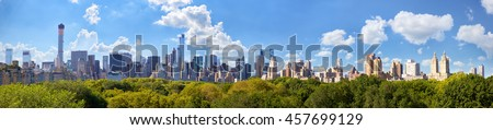 Manhattan skyline panorama with Central Park in New York City  - stock photo