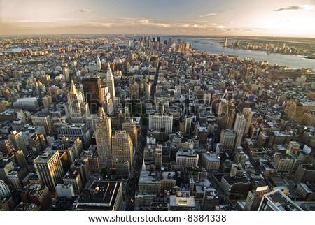 manhattan skyscrapers - stock photo