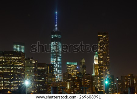 Manhattan skyscrapers at night - stock photo