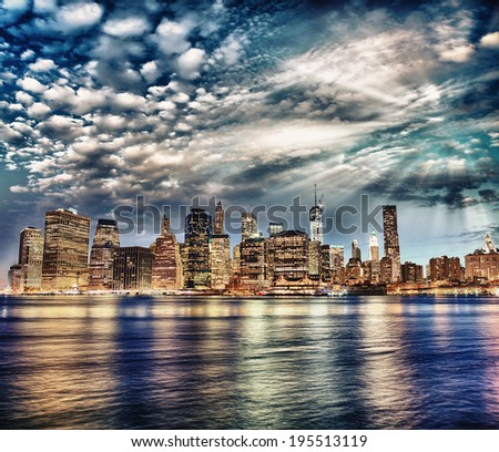 Manhattan skyscrapers lights. - stock photo