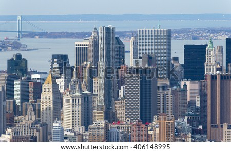 Manhattan skyscrapers up close, New York skyline, April of 2015, USA - stock photo