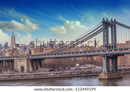 Manhattan Skyscrapers with dramatic Sky on background, U.S.A. - stock photo