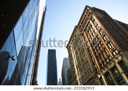 Manhattan, USA - November 3: View of the Financial District buildings in Manhattan, USA on November 3, 2014. - stock photo