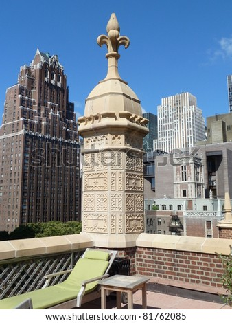Manhattan view from rooftop terrace - stock photo