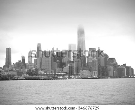 Manhattan. views of the Hudson River. black and white photography - stock photo