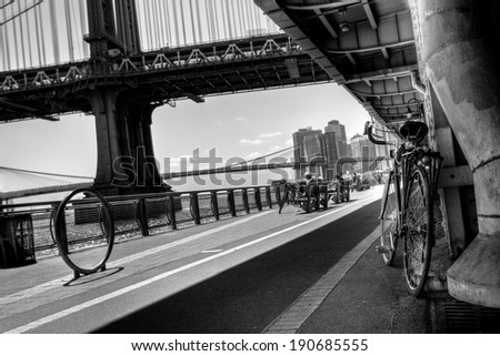 Manhattan Waterfront Bike Path B&W - stock photo
