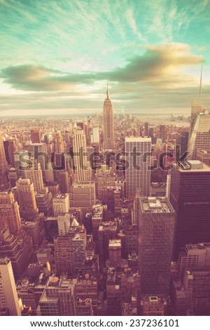 Manhattan with vintage tone - stock photo